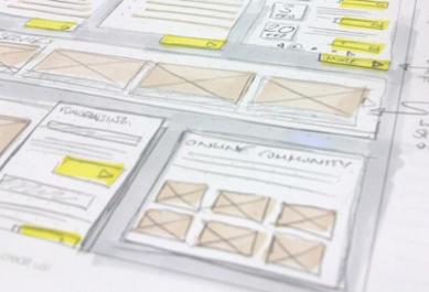 Dessin de wireframe sur papier